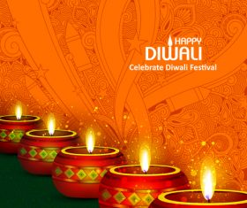 Celebrate diwali festival design vector material 07