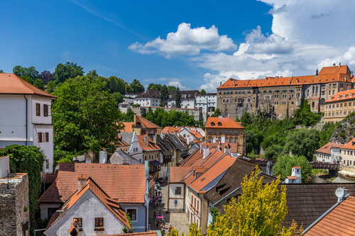 Cesky Krumlov CK town scenery Stock Photo 02
