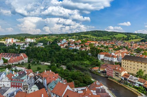 Cesky Krumlov CK town scenery Stock Photo 05