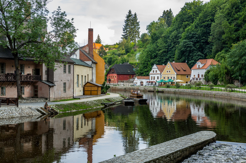 Cesky Krumlov CK town scenery Stock Photo 07