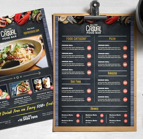 Chalkboard Styles Restaurant Food Menu PSD Template