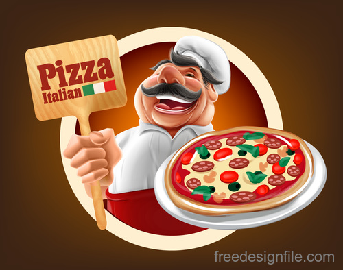 Chef with Pizza sign vector