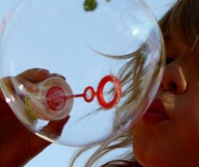 Children blowing bubbles Stock Photo 01