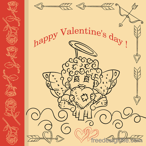 Childrens Doodle with Valentines day Cupid holds and heart vector