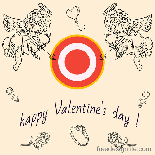 Childrens Doodle with Valentines day vector
