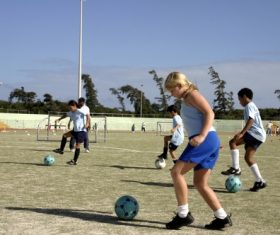 Childrens football training Stock Photo