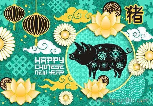 Chinese 2019 new year of the pig vector material