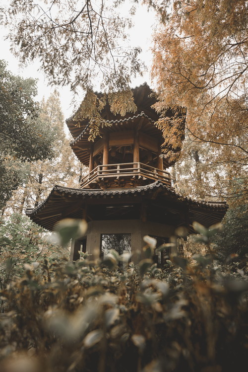 Chinese ancient pavilion Stock Photo