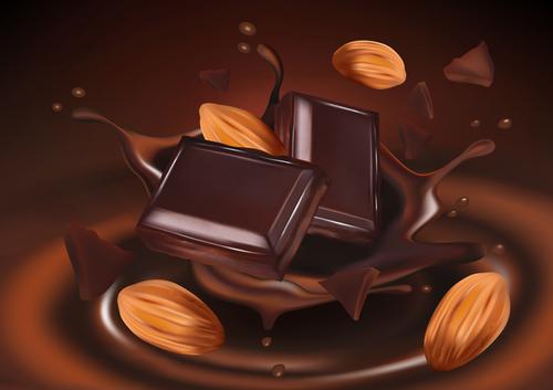 Chocolate splash effect vector design 01