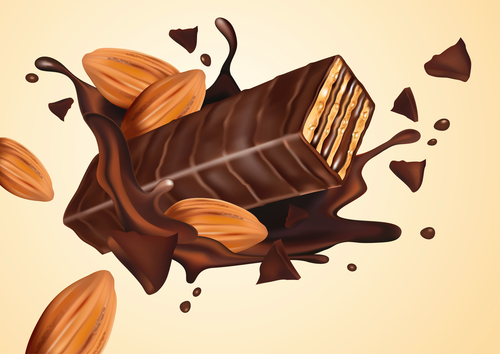 Chocolate splash effect vector design 02