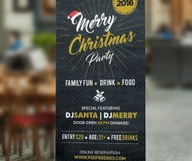 Christmas Party Poster Roll-up Banner PSD Template