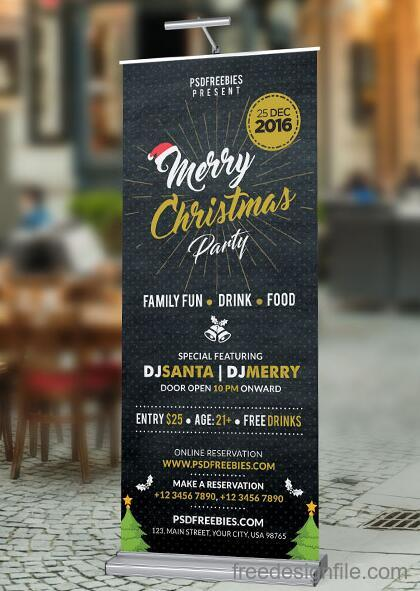 Christmas Party Poster Roll up Banner PSD Template