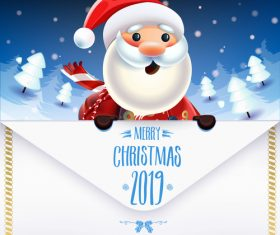 Christmas Santa and 2019 New year Postercard vector