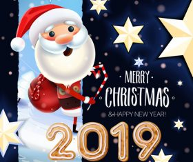Christmas Santa and New year 2019 Card vector