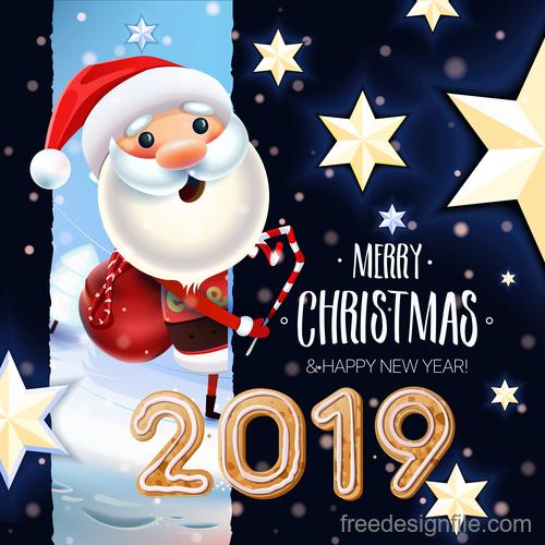 Christmas Santa and New year 2019 Card vector