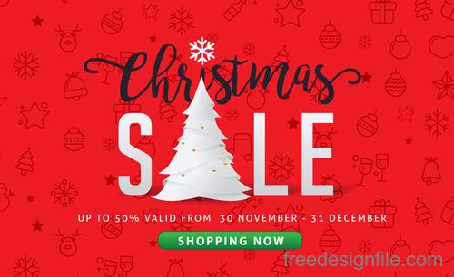 Christmas discount sale poster template vectors 02