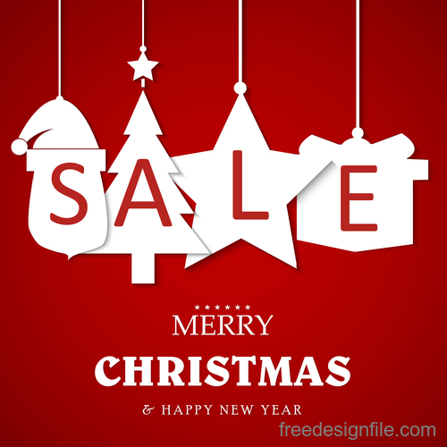 Christmas discount sale poster template vectors 04