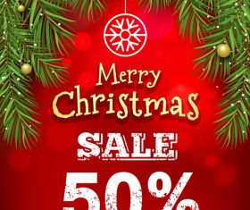 Christmas discount sale poster template vectors 05
