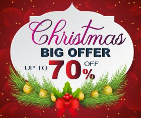 Christmas discount sale poster template vectors 07