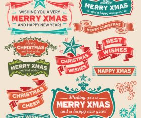 Christmas festive banners vintage vector 01