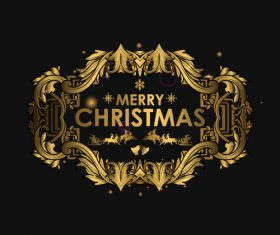Christmas luxury golden labels vector 01