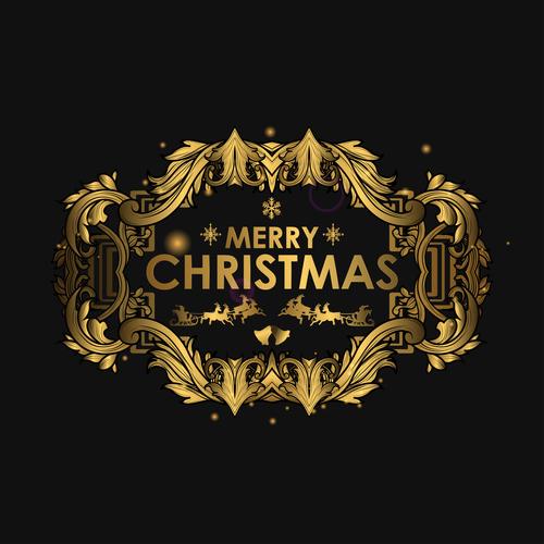 Christmas luxury golden labels vector 01