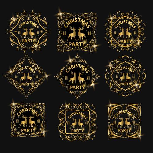 Christmas luxury golden labels vector 03