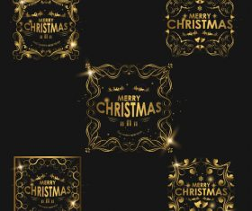 Christmas luxury golden labels vector 04