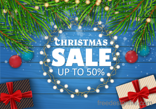 Christmas sale background with wood wall vector 01