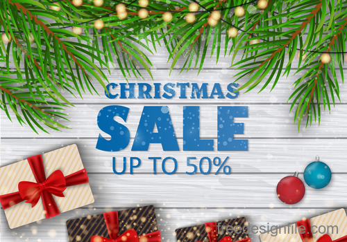 Christmas sale background with wood wall vector 02