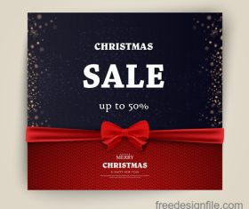 Christmas sale card with red bows vectors