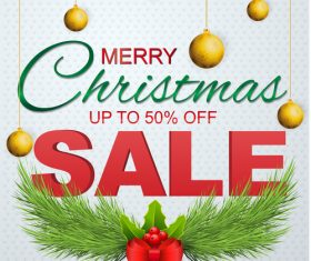 Christmas sale flyer with poster template vector