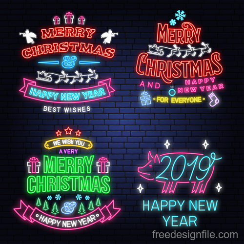 Christmas with 2019 new year neon labels design vector 01