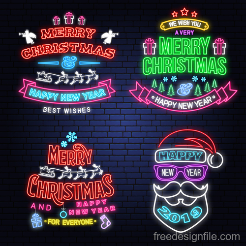 Christmas with 2019 new year neon labels design vector 04