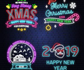 Christmas with 2019 new year neon labels design vector 05