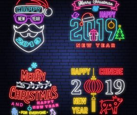 Christmas with 2019 new year neon labels design vector 06