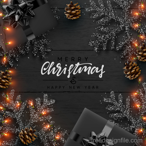 Christmas with new year design and black wood wall background vector