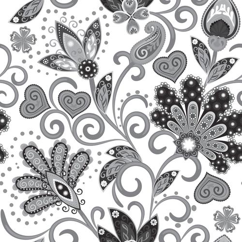Classic floral decorative pattern seamless vectors 04