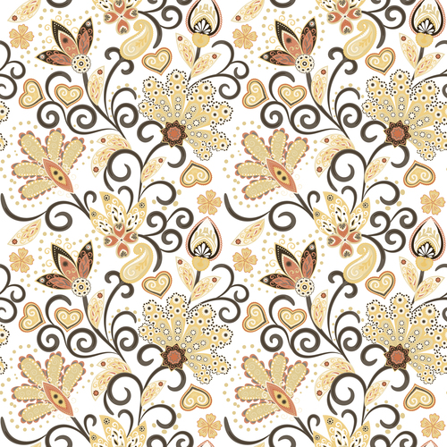 Classic floral decorative pattern seamless vectors 06
