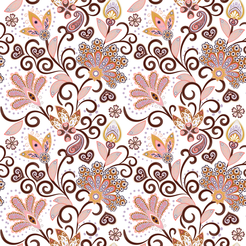 Classic floral decorative pattern seamless vectors 08
