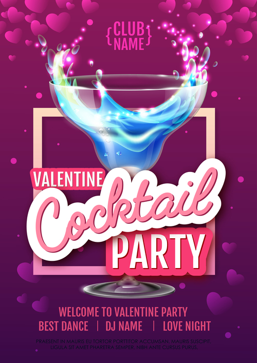 Cocktail music party flyer with poster template vectors 01