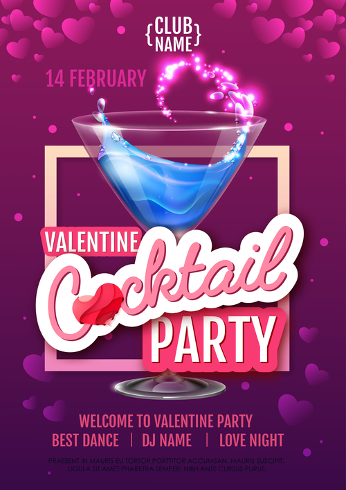 Cocktail music party flyer with poster template vectors 04