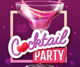 Cocktail music party flyer with poster template vectors 07
