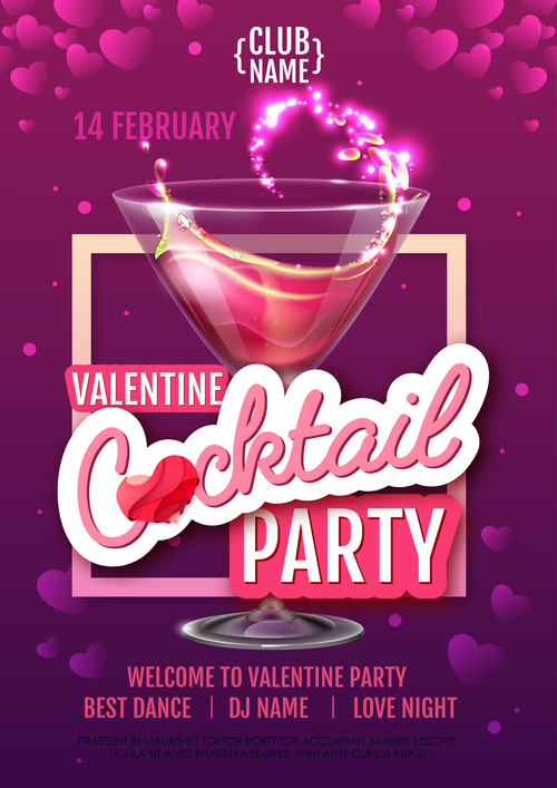 Cocktail music party flyer with poster template vectors 08