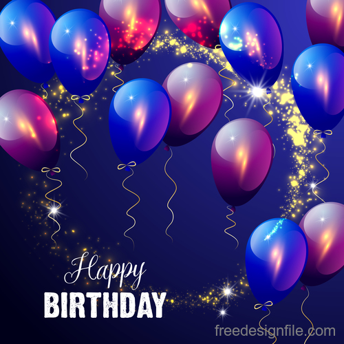 Colored balloons with birthday holiday background vector 01