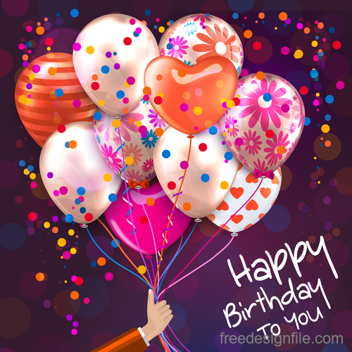 Colored balloons with birthday holiday background vector 05