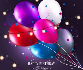 Colored balloons with birthday holiday background vector 06