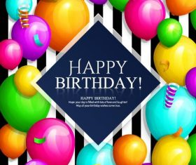 Colored balloons with stripes barthday card vector