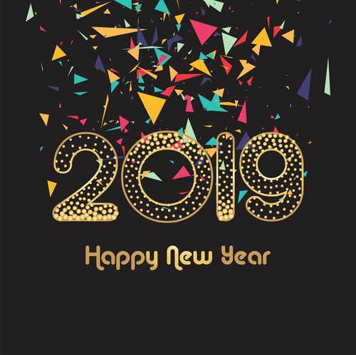 Colored confetti with 2019 new year backgrounds vector