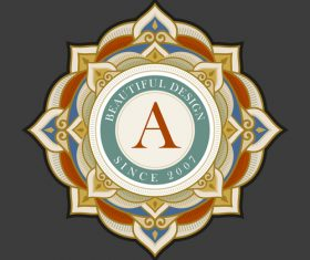Colored decor emblem template vintage vector 02